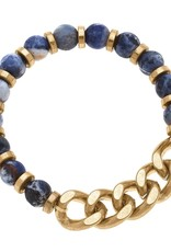 - Navy Gemstone & Chunky Chain Bracelet