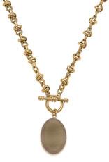 - Gold Gemstone Pendant T-Bar Short Necklace