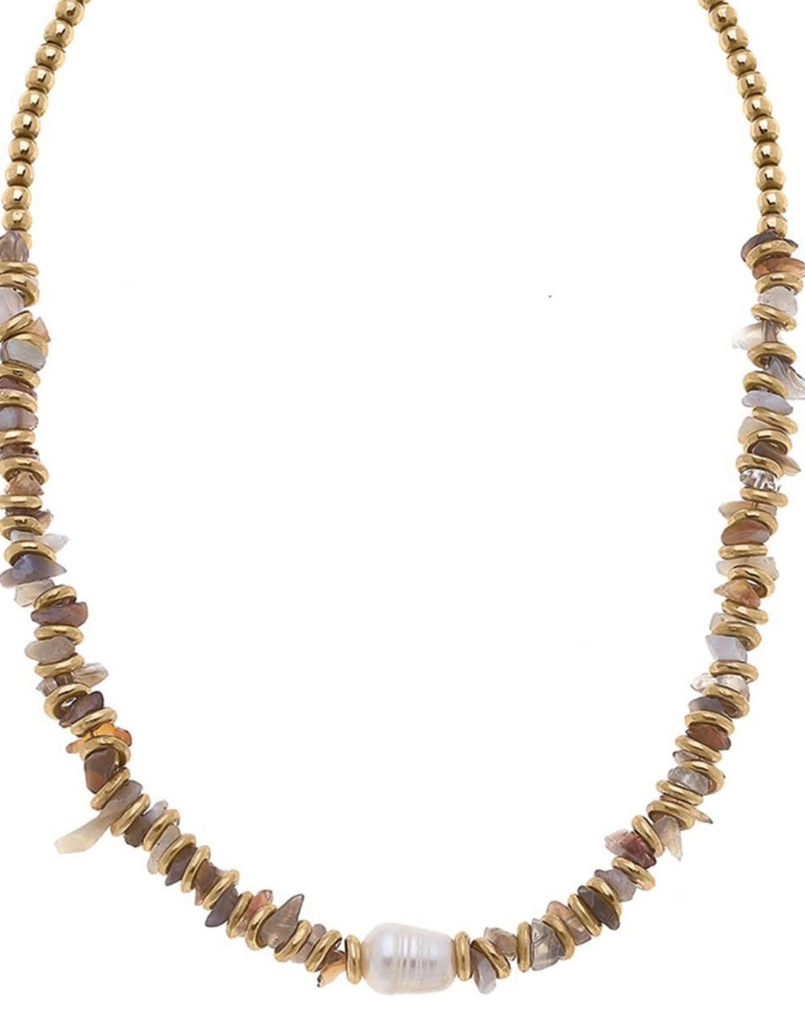- Gold Pearl & Bead Gemstone Chip Necklace in Grey