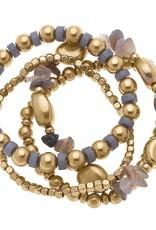 - Beaded Gemstone Stack Bracelets (set of 4)