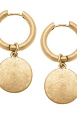 - Gold Disc Drop Hoop Earrings