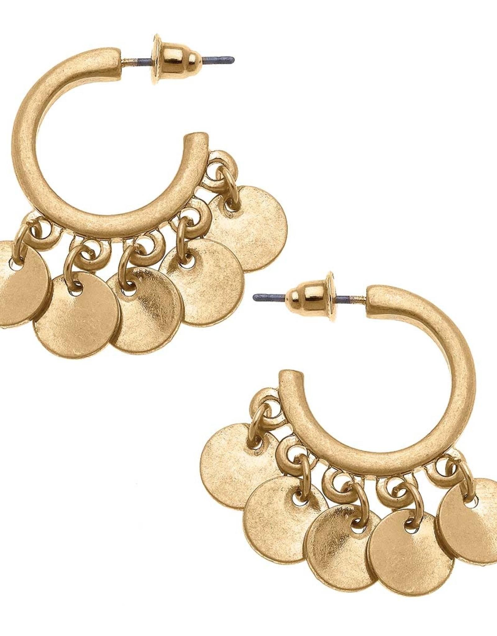 - Gold Disc Charm Hoop Earrings