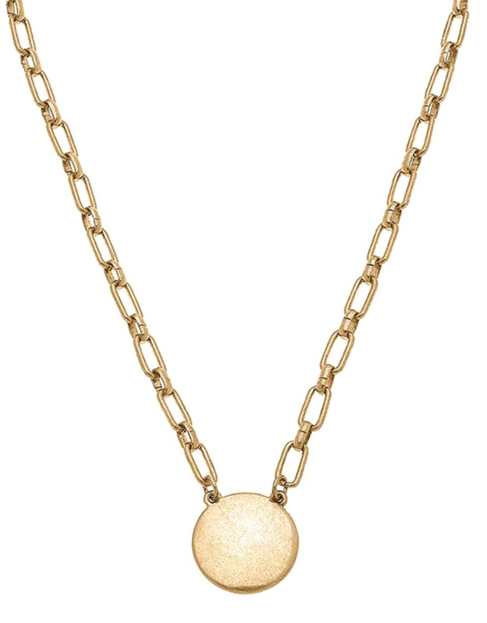 - Gold Short Necklace w/Disc Charm