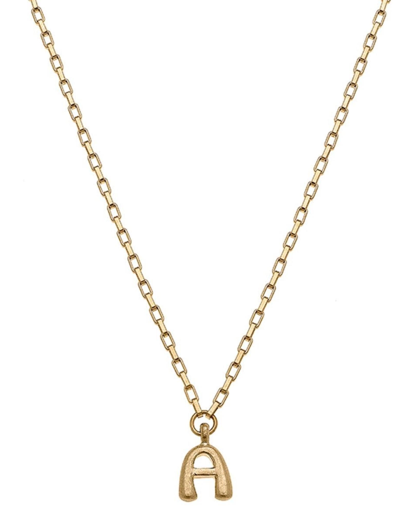 "- ""A"" Gold Bubble Letter Initial Necklace"