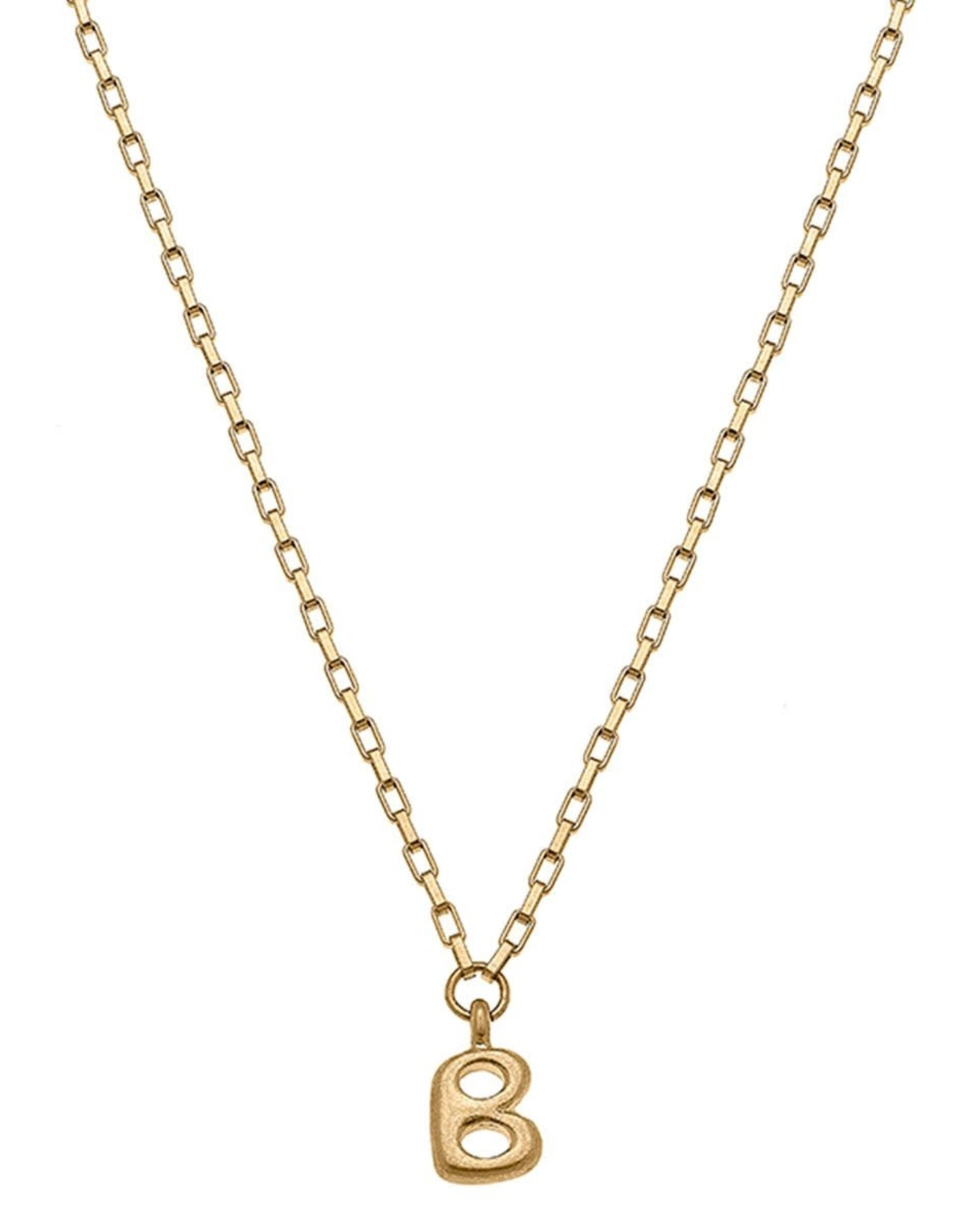 """- """"B"""" Gold Bubble Letter Initial Necklace"""
