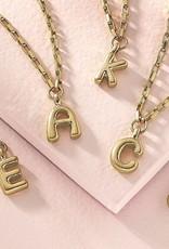 "- ""C"" Gold Bubble Letter Initial Necklace"