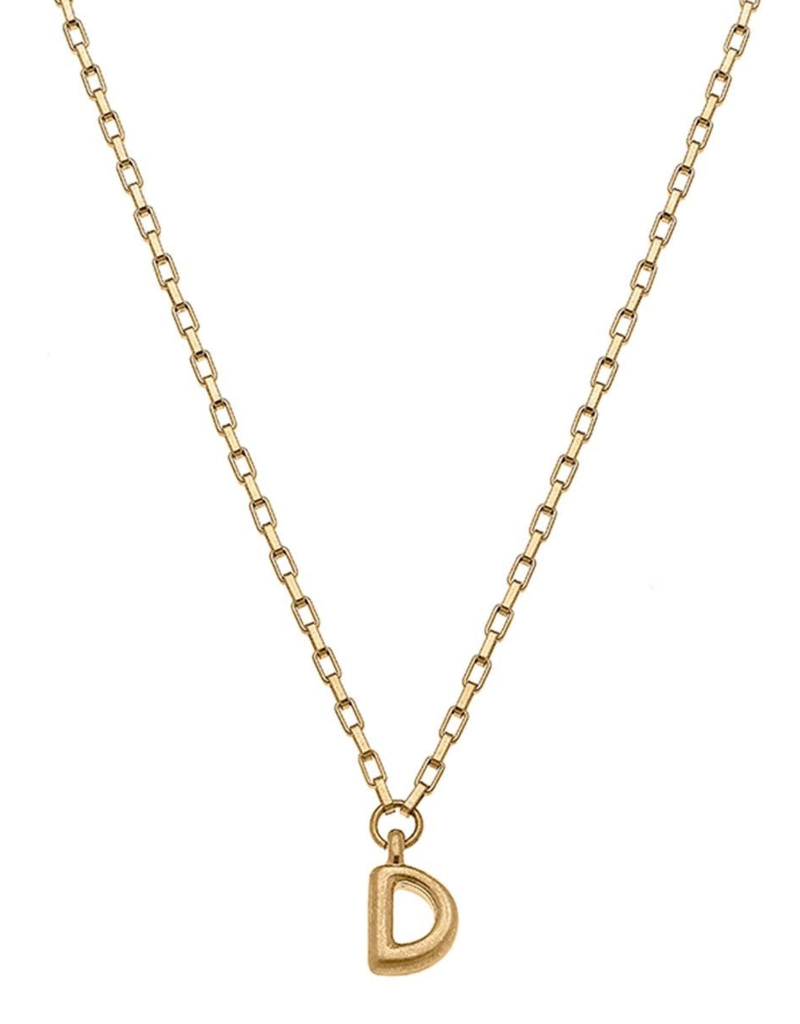 """- """"D"""" Gold Bubble Letter Initial Necklace"""