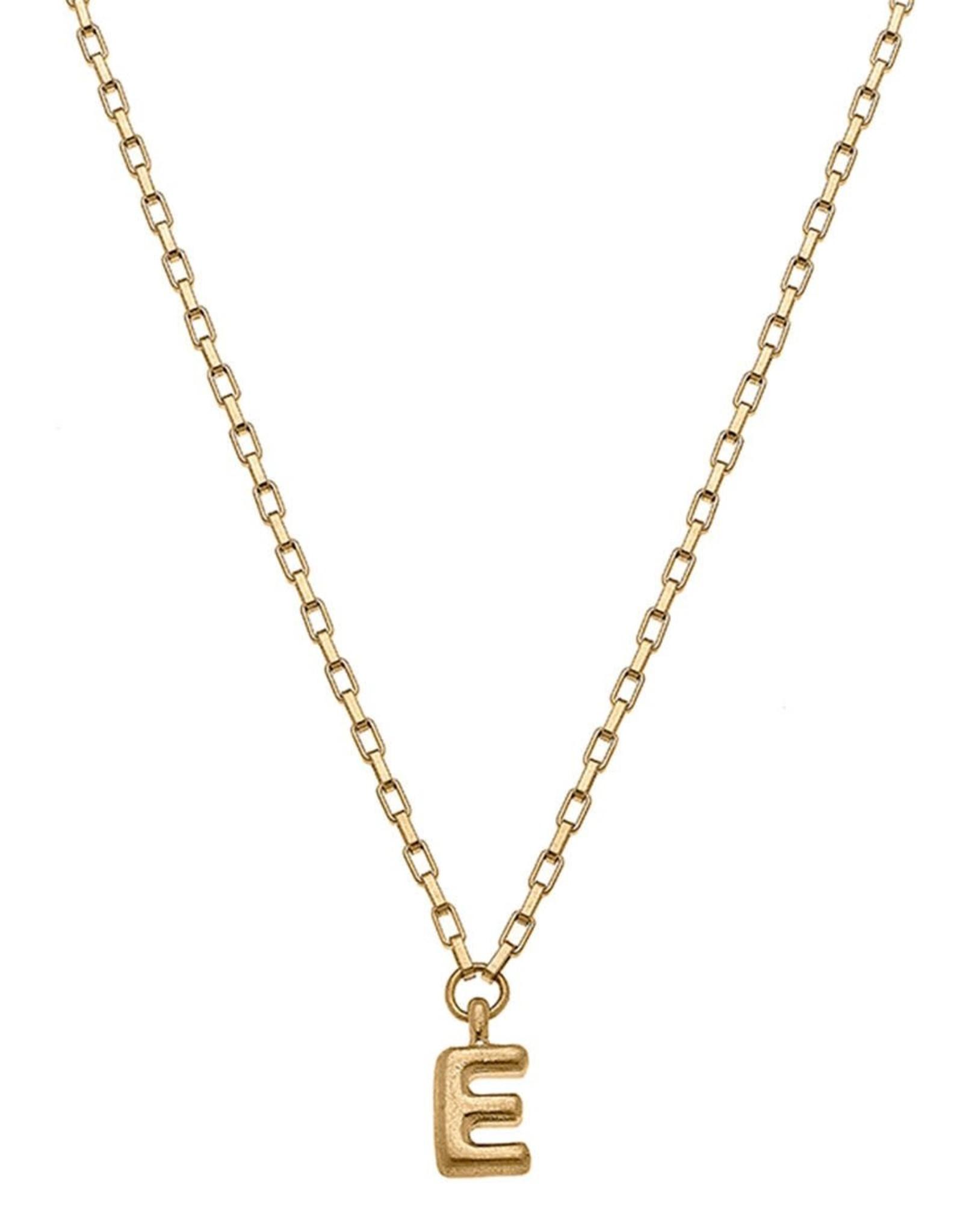 """- """"E"""" Gold Bubble Letter Initial Necklace"""