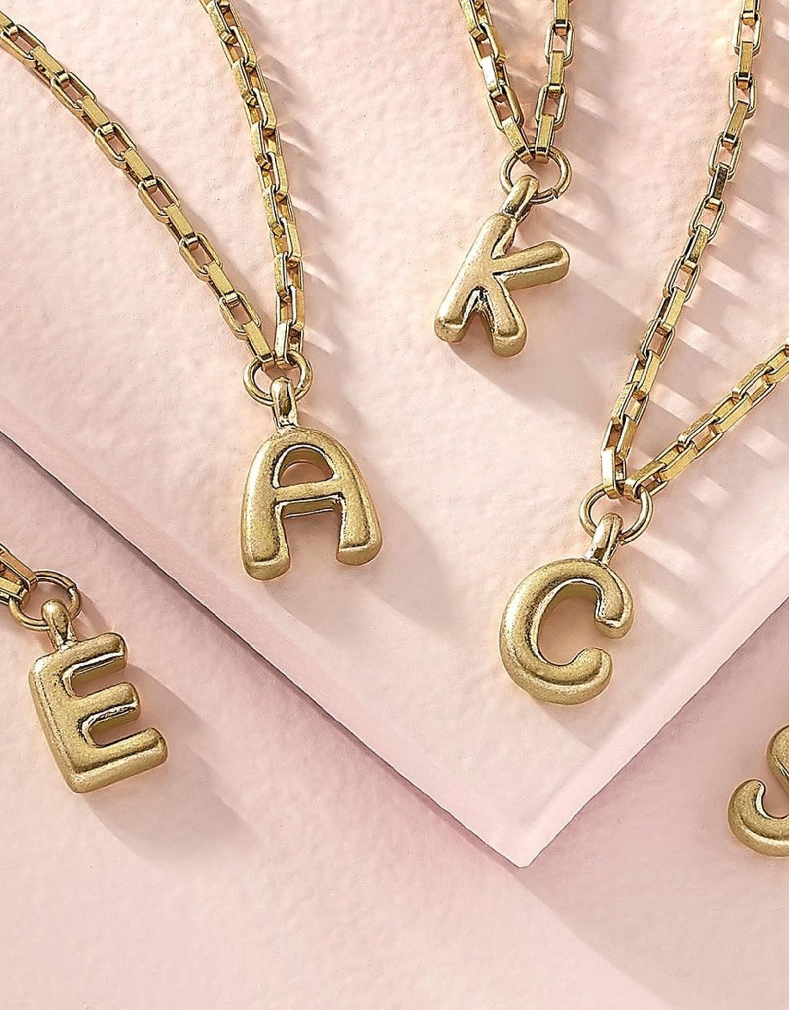"- ""R"" Gold Bubble Letter Initial Necklace"