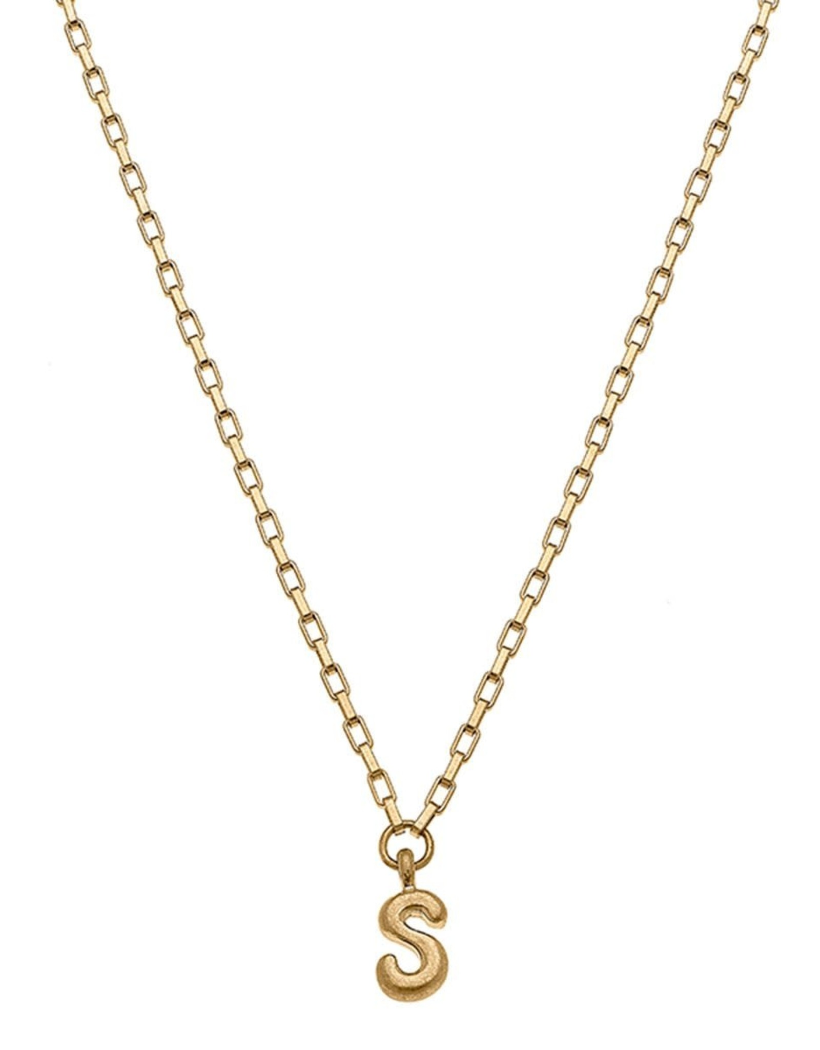 "- ""S"" Gold Bubble Letter Initial Necklace"