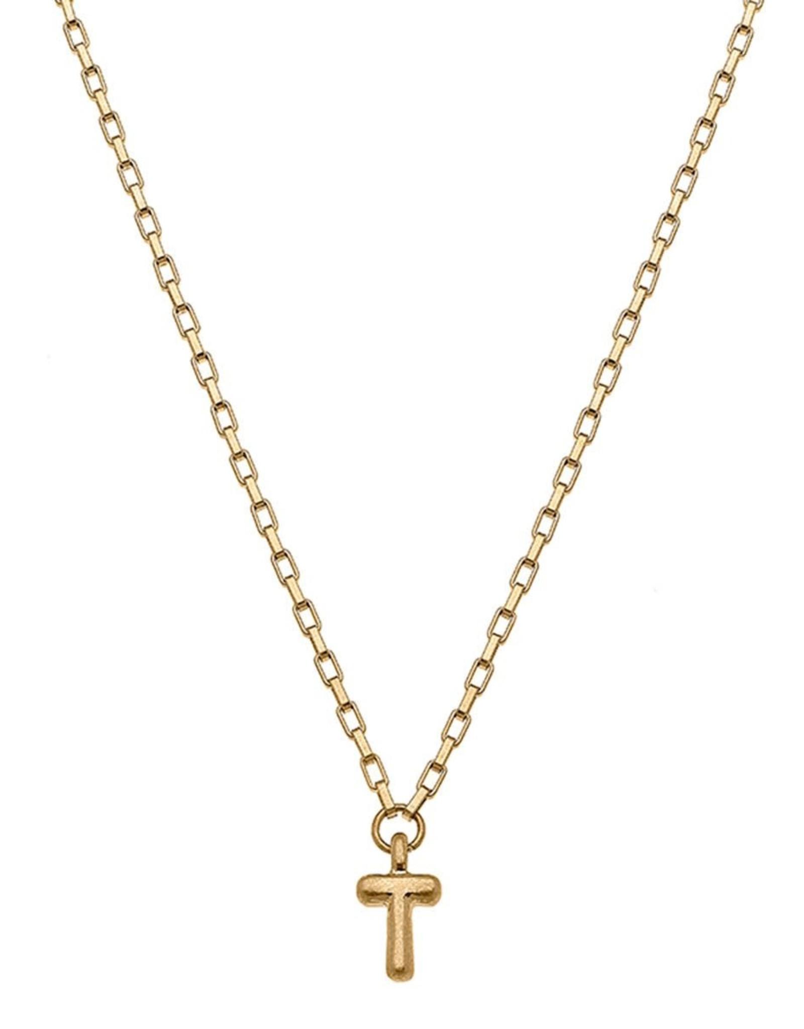 "- ""T"" Gold Bubble Letter Initial Necklace"
