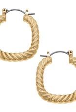 - Gold Twisted Metal Square Hoop Earrings