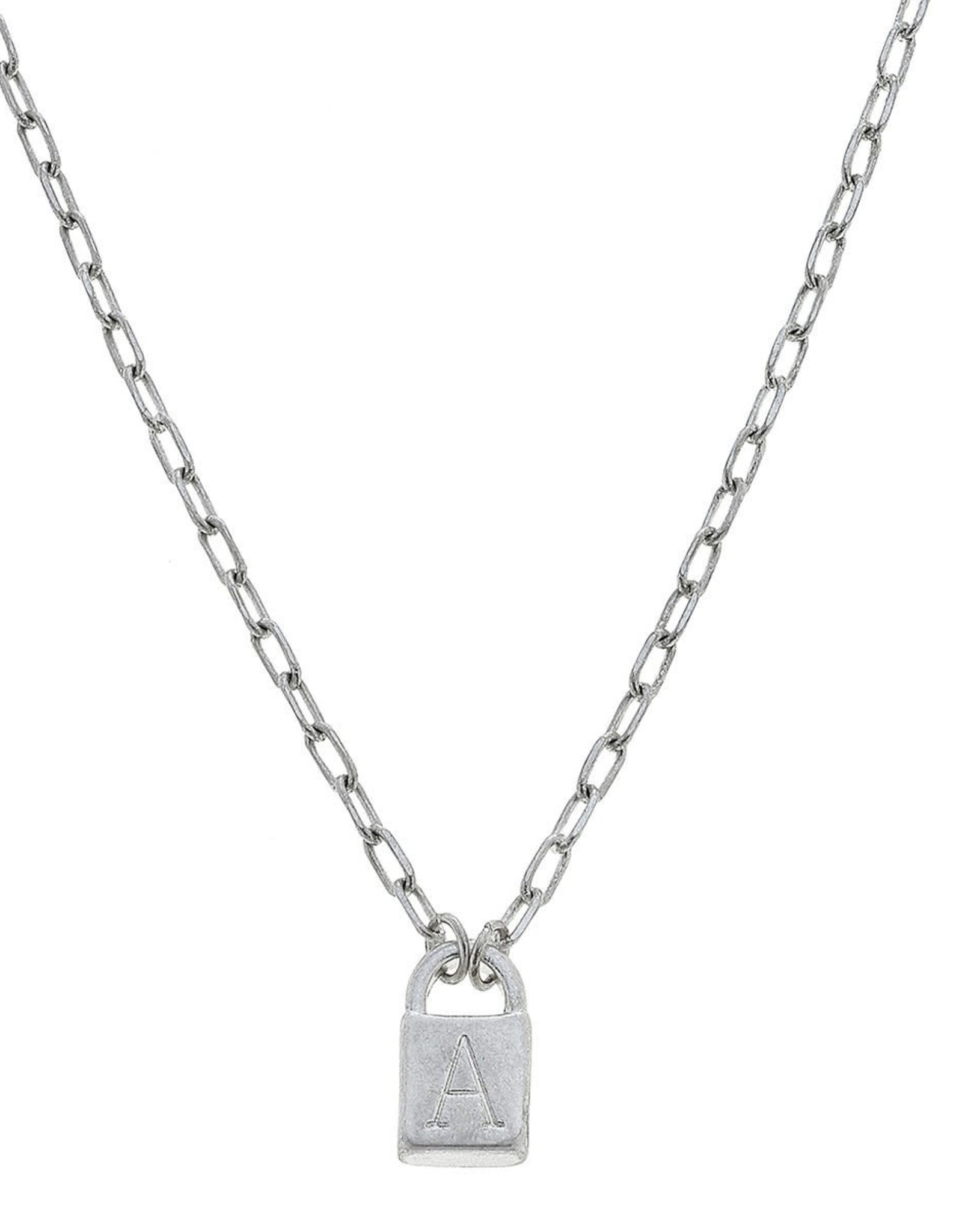"""- """"A"""" Silver Padlock Initial Necklace"""