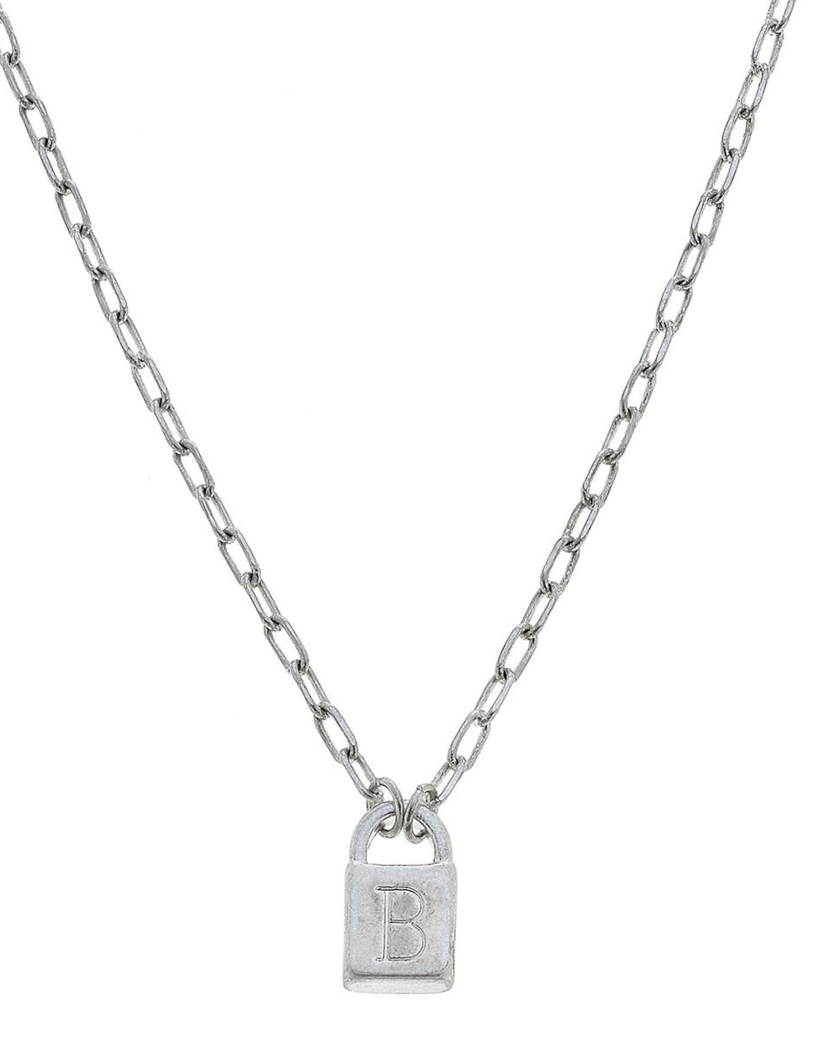 """- """"B"""" Silver Padlock Initial Necklace"""