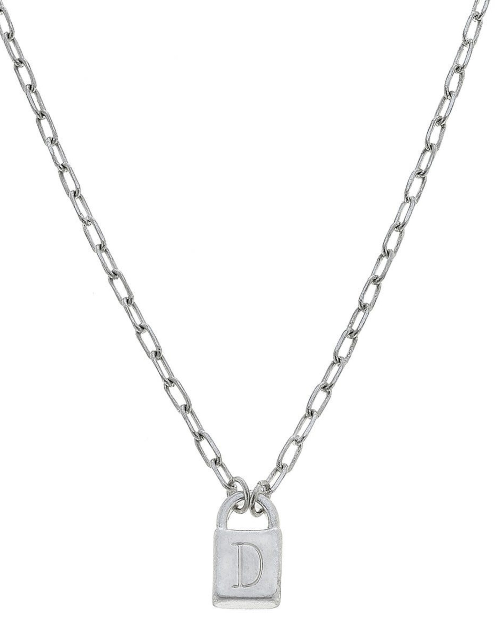 """- """"D"""" Silver Padlock Initial Necklace"""