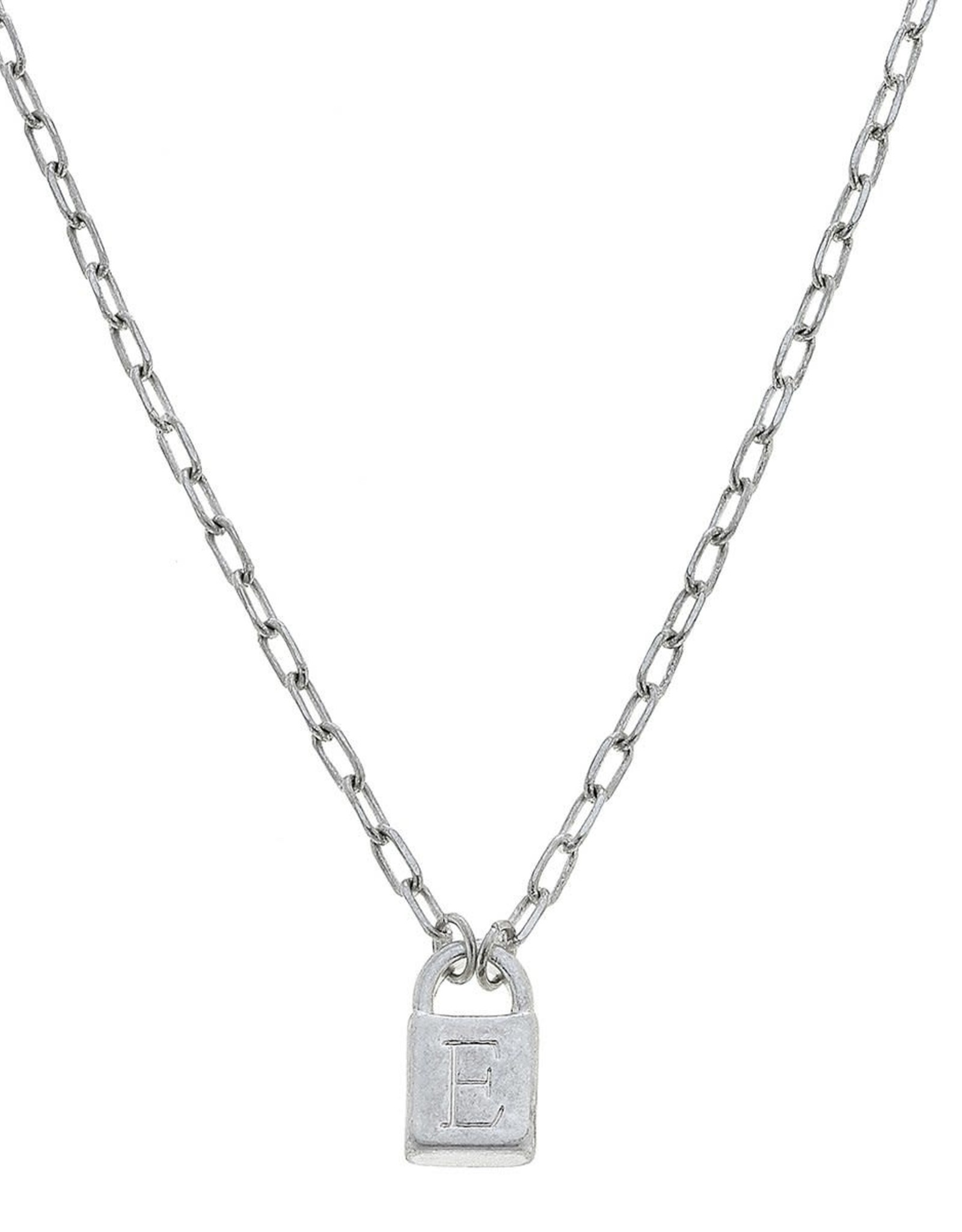 "- ""E"" Silver Padlock Initial Necklace"