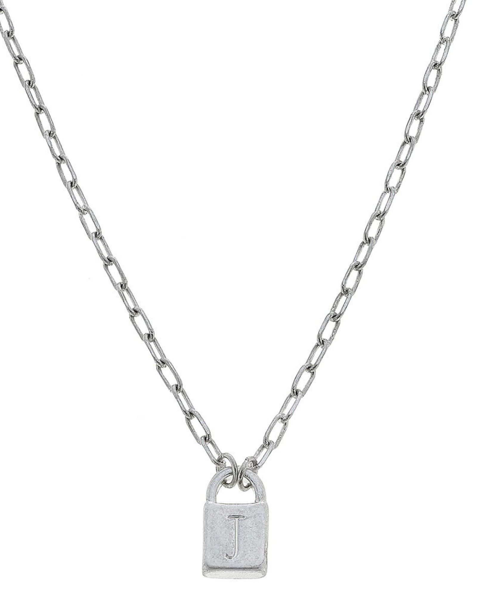 "- ""J"" Silver Padlock Initial Necklace"