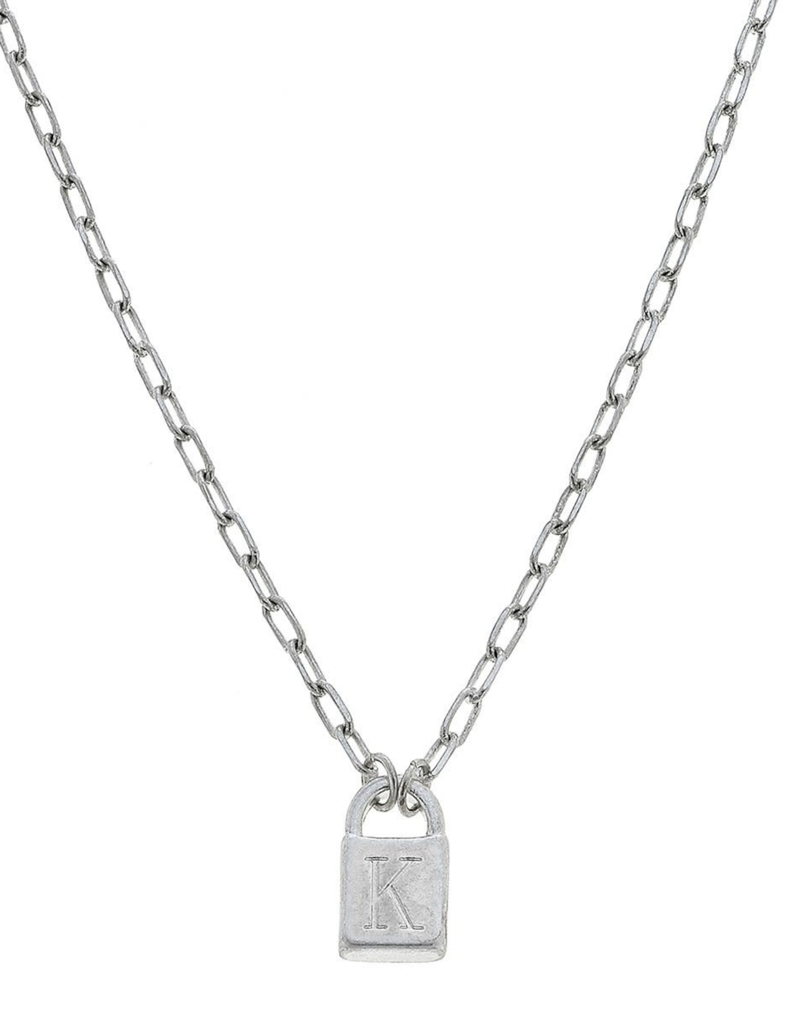 """- """"K"""" Silver Padlock Initial Necklace"""
