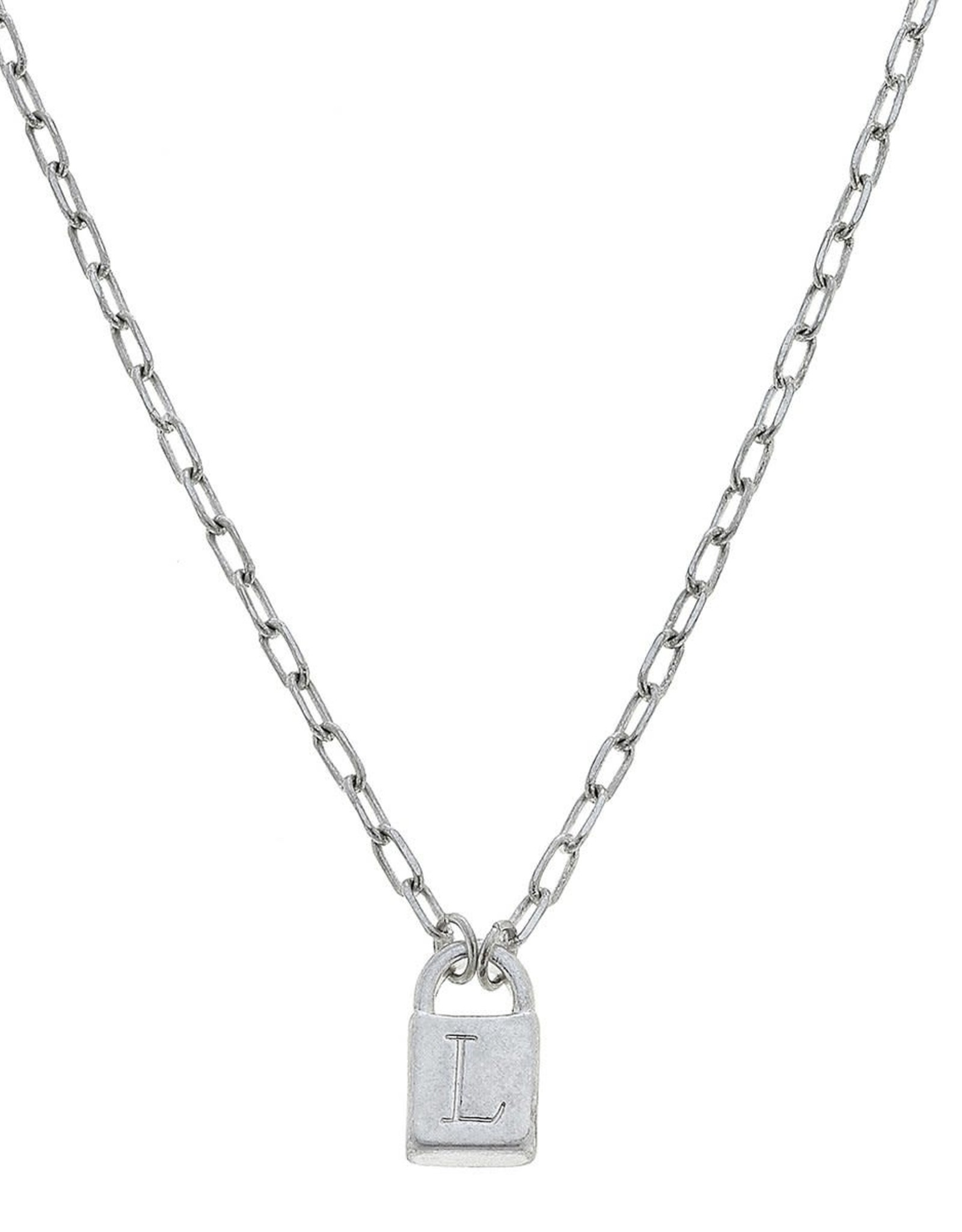 """- """"L"""" Silver Padlock Initial Necklace"""