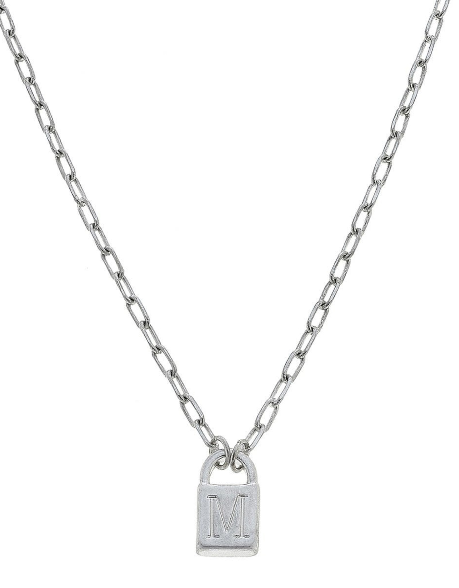 """- """"M"""" Silver Padlock Initial Necklace"""