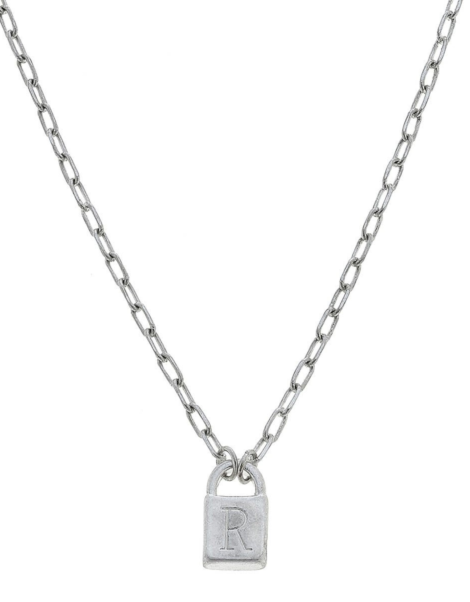 """- """"R"""" Silver Padlock Initial Necklace"""