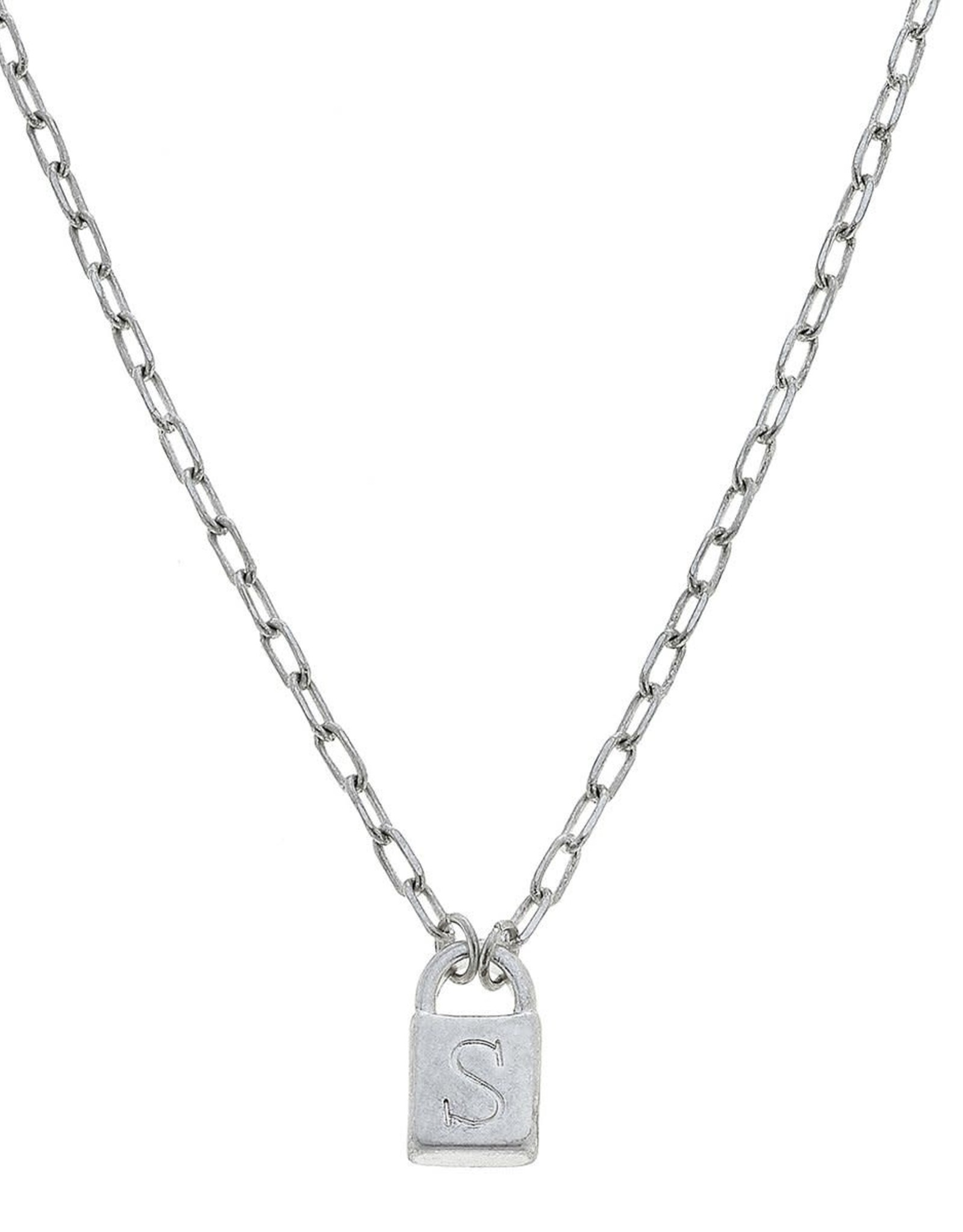 """- """"S"""" Silver Padlock Initial Necklace"""