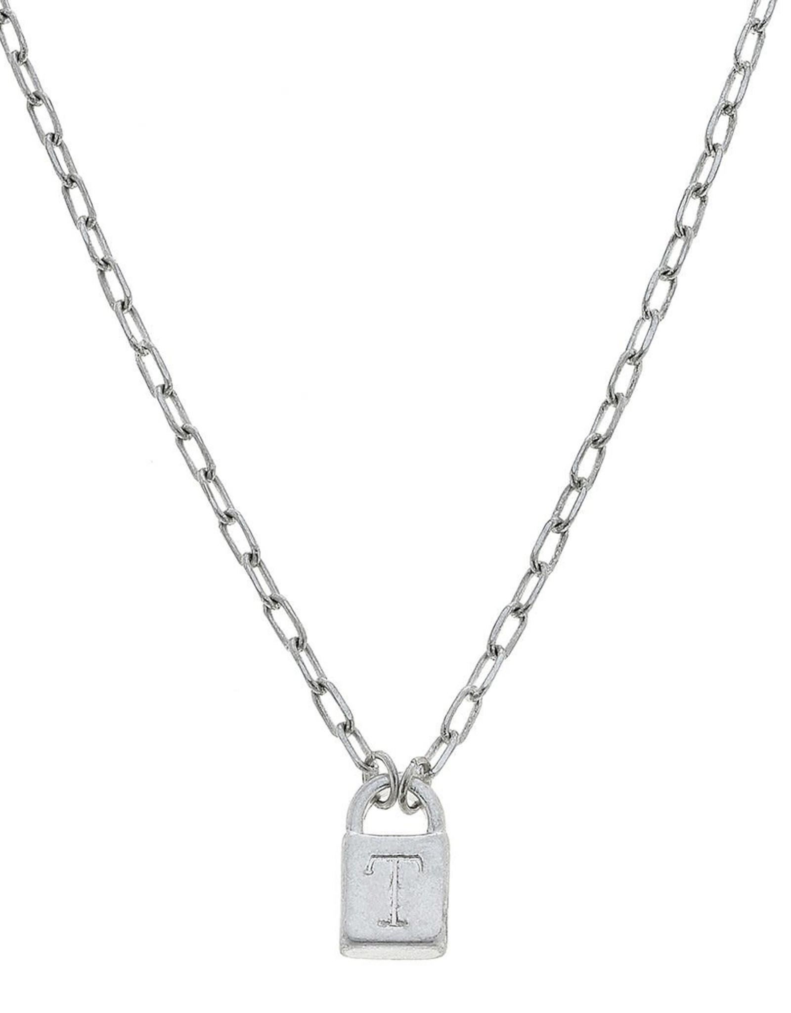 """- """"T"""" Silver Padlock Initial Necklace"""