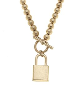 - Gold Padlock T-Bar Short Necklace