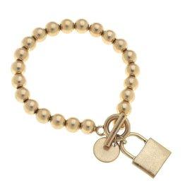 - Gold Padlock T-Bar Bracelet