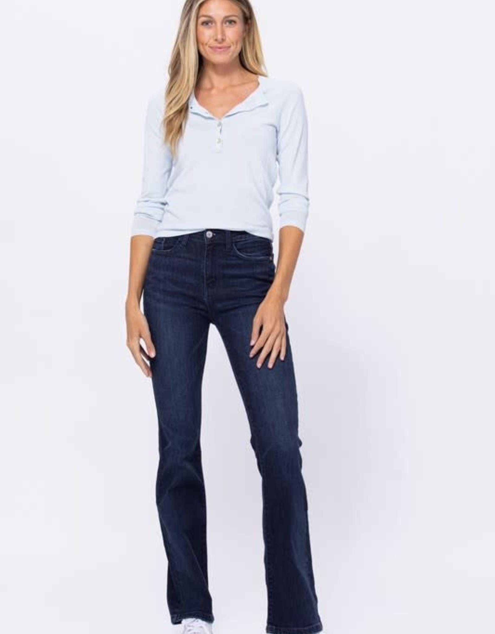- Dark Blue High Waist Slim Bootcut Jean