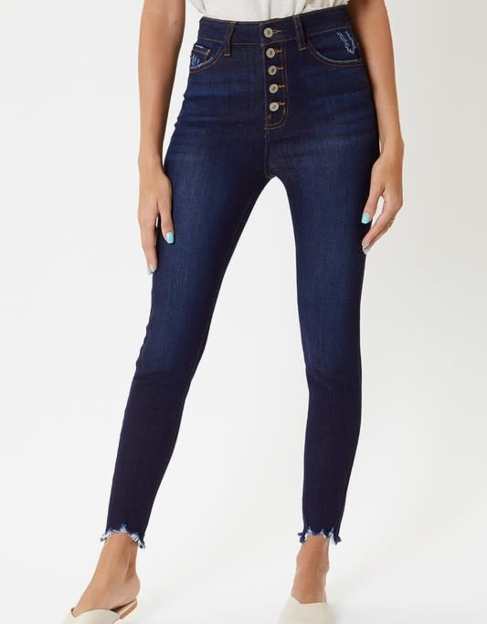 Kancan Dark Wash High Rise Button Fly Ankle Super Skinny