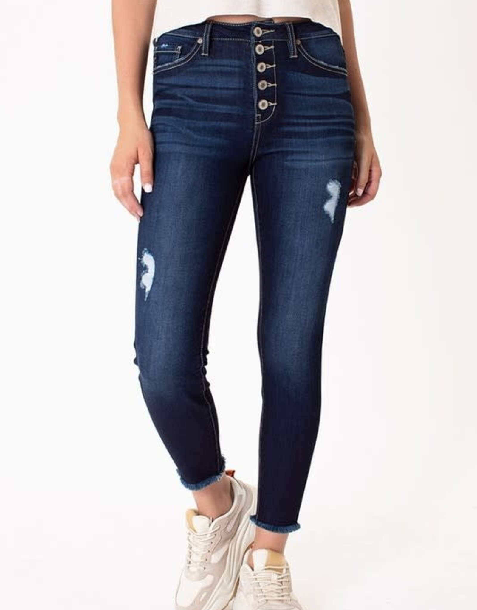 Kancan Dark Wash High Rise Button Fly Ankle Skinny Jeans w/Fray Hem