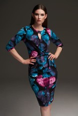 Joseph Ribkoff Black/Multi Floral Print 3/4 Sleeve Dress