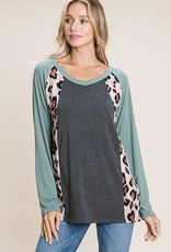 - Charcoal Colorblock w/Animal Print Long Sleeve Top