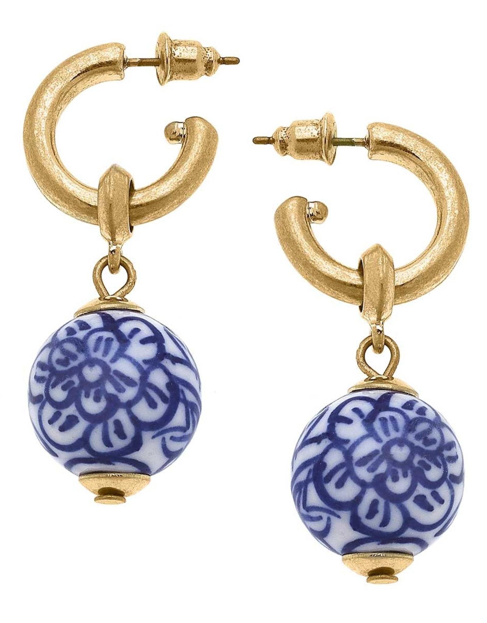 - Gold Drop Hoop Earring w/Blue & White Ball