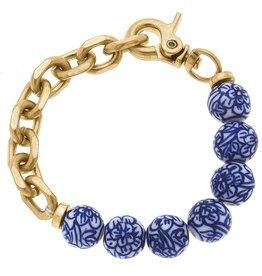 - Blue/White Bead & Chunky Chain Bracelet