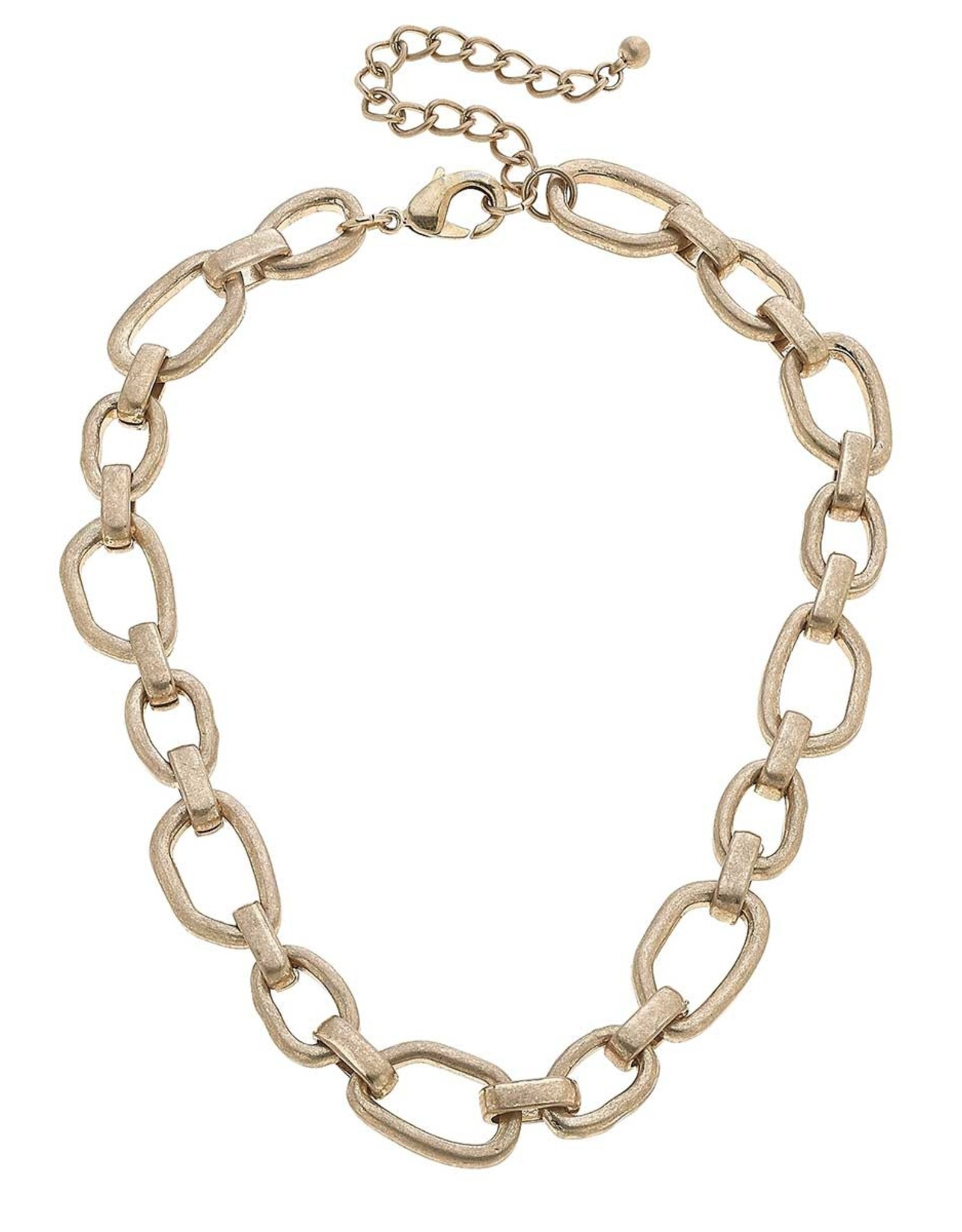 - Worn Gold Chain Link Necklace