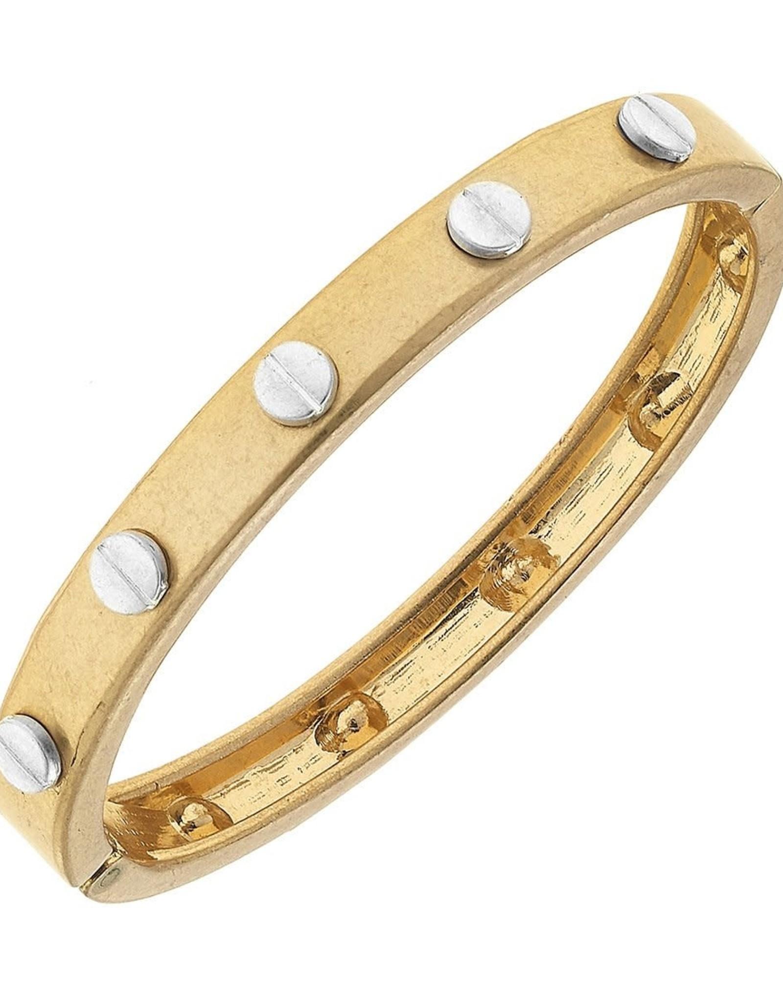 - Hardware Hinge Bangle in Worn Gold