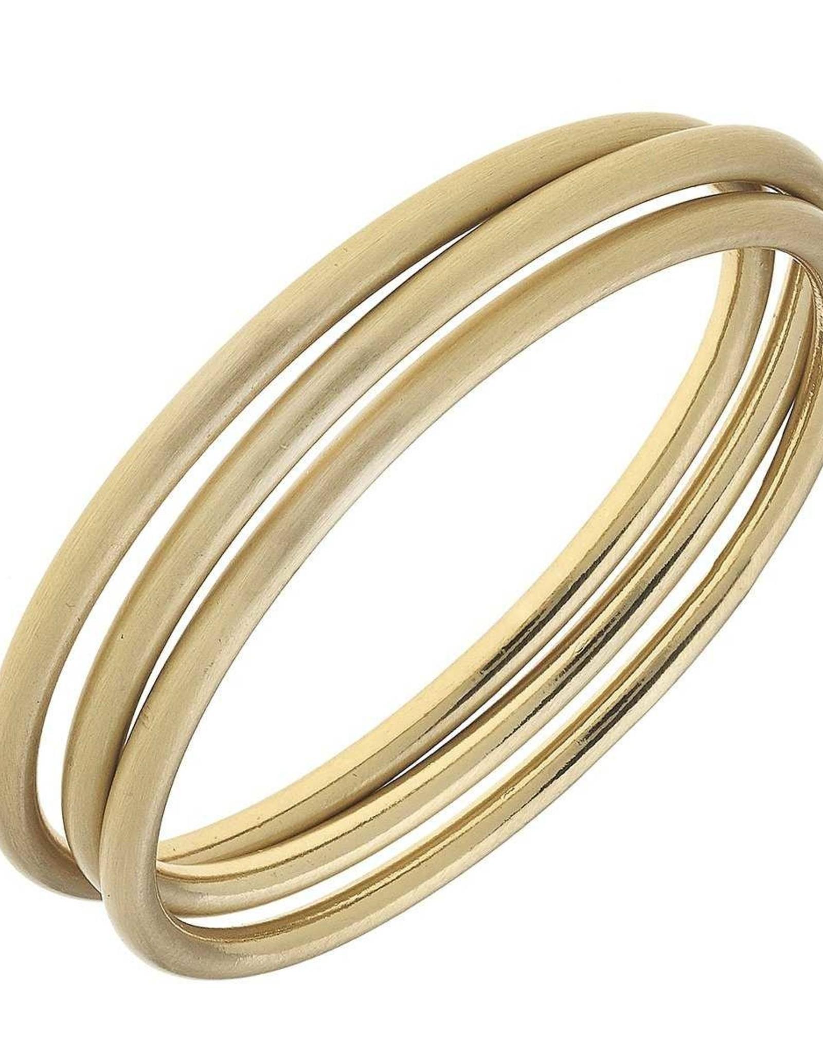 - Bangles in Satin Gold - Set of 3
