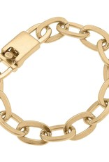 - Chunky Chain Link Bracelet in Worn Gold