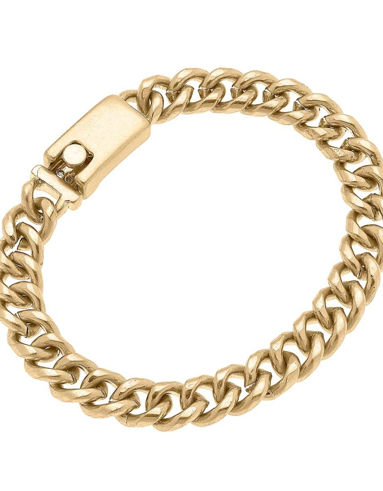 - Delicate Curb Chain Bracelet in Worn Gold