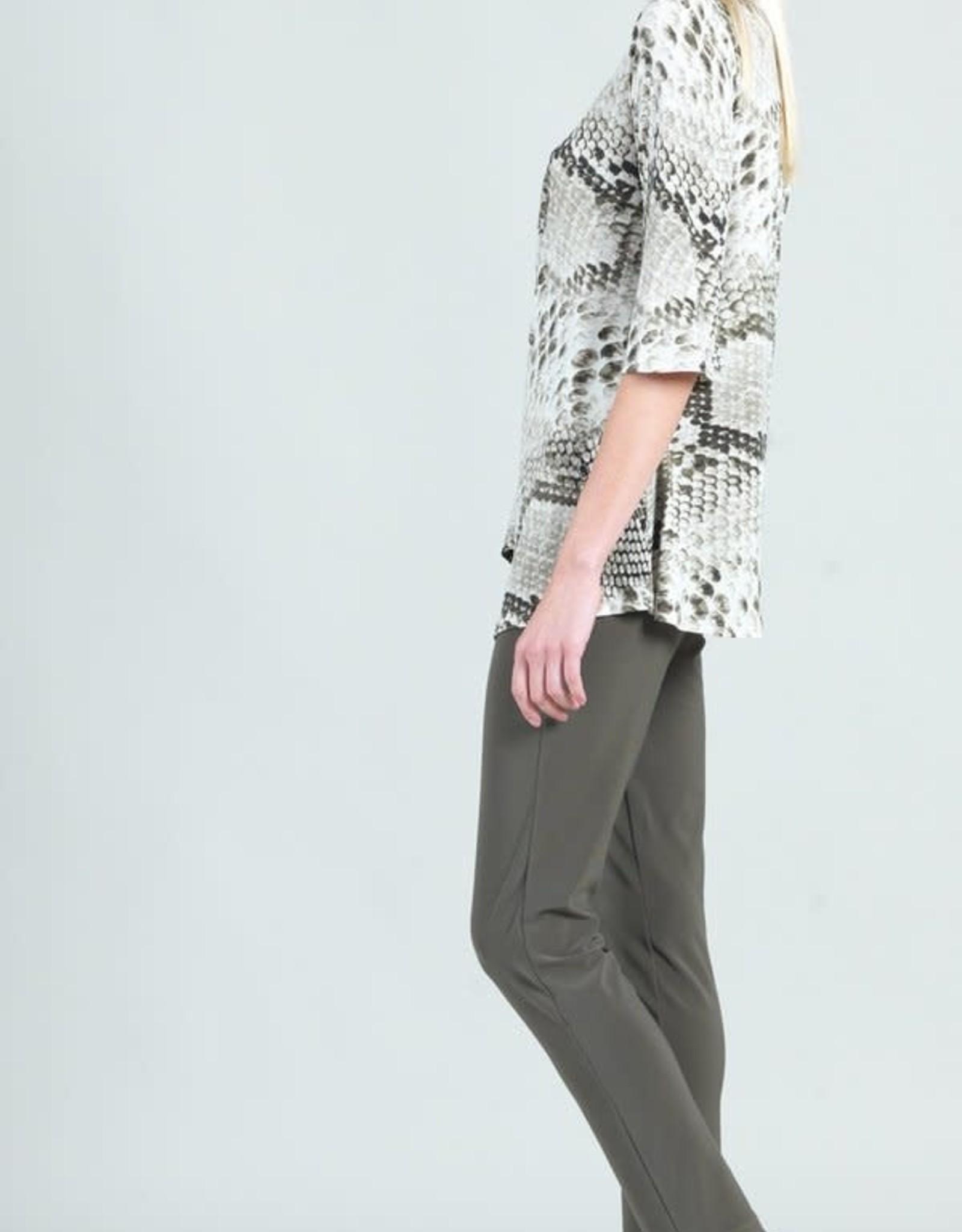 Clara Sunwoo Olive Python Print Side Gathered Drape Hem Tunic