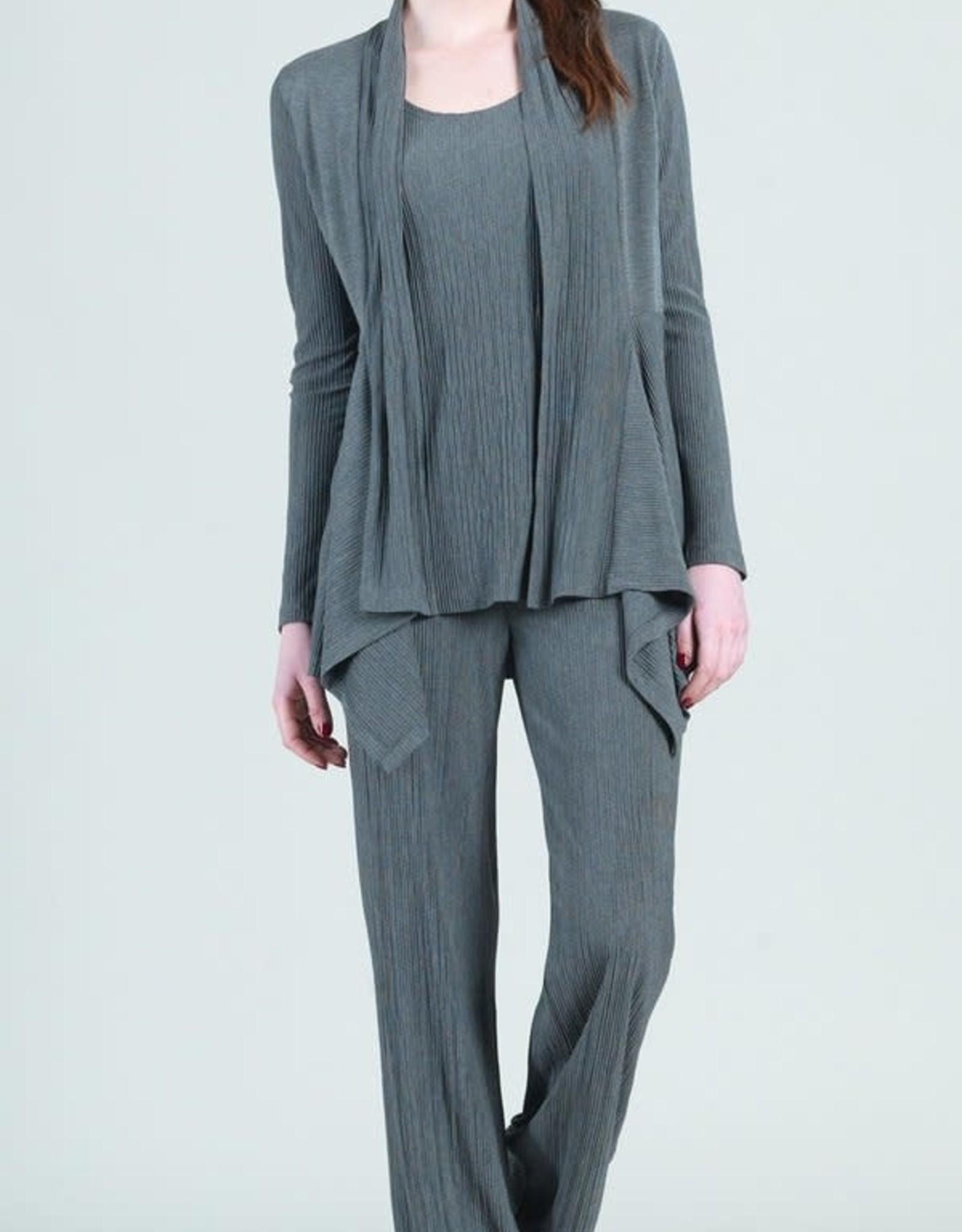 Clara Sunwoo Charcoal Pleated Soft Knit Cardigan/Tank Set