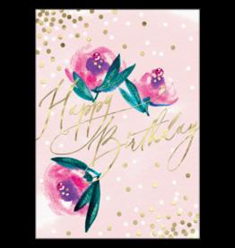 - Pink Roses Birthday Card