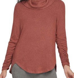 Tribal Ginger Heathered Cowl Neck Top w/ Shirring Detail
