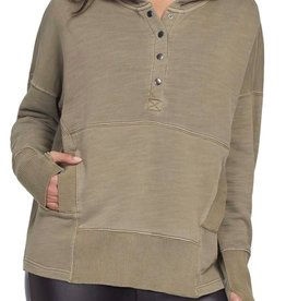 Tribal Khaki Long Sleeve Hooded Top w/ Snaps