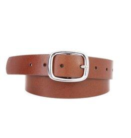 - Cognac Basic Silver Rectangle Buckle Leather Belt
