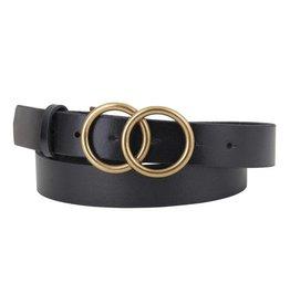 - Black Double Circle Buckle Leather Belt