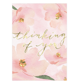 - Pink Floral Thinking of You Card