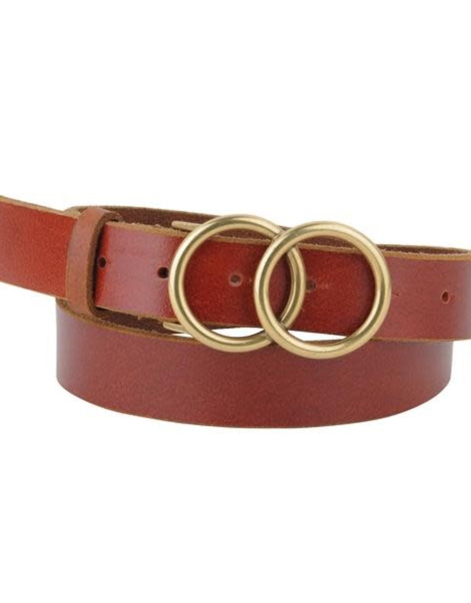 - Cognac Double Circle Buckle Leather Belt
